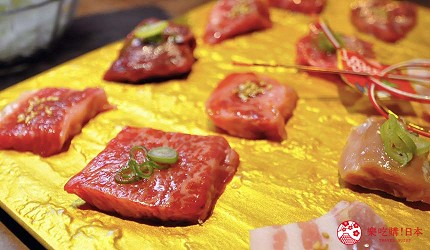 京都河原町和牛燒肉推薦「焼肉どうらく 京都六角通り店」的「14種燒肉拼盤」的燒肉內容