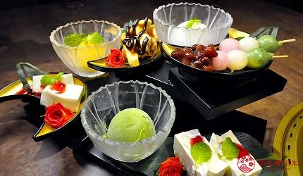 京都河原町和牛燒肉推薦「焼肉どうらく 京都六角通り店」的甜點5段豪華拼盤