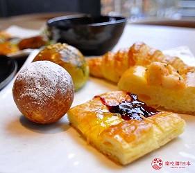 日本自由行大阪交通方便住宿推介karaksa hotel grande 新大阪 Tower唐草飯店早餐提供的甜點包類