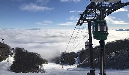 日本關西北海道新潟滑雪自由行滑雪場推薦5選之一的「Dynaland」的纜車