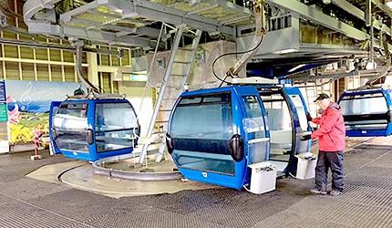 日本關西北海道新潟滑雪自由行滑雪場推薦5選之一的箱館山滑雪場的纜車