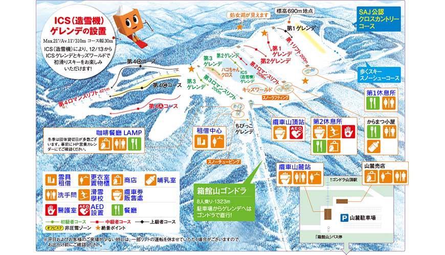 日本關西北海道新潟滑雪自由行滑雪場推薦5選之一的箱館山滑雪場的滑雪場平面圖