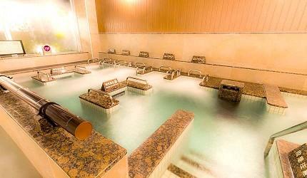 大阪京都溫泉旅館推薦「SPA&HOTEL 水春 松井山手店」的室內溫泉示意圖
