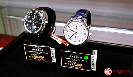 大阪道頓堀電器行推薦「愛電王」店內販售的 IWC 萬國錶的大葡萄牙系列計時腕錶