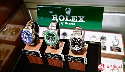 大阪道頓堀電器行推薦「愛電王」店內販售的手錶有勞力士潛航者系列