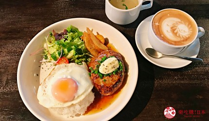 關西自由行必去推薦推介大阪難波和泉市市民最愛的咖啡廳CAFE MANO的和風夏威夷漢堡飯